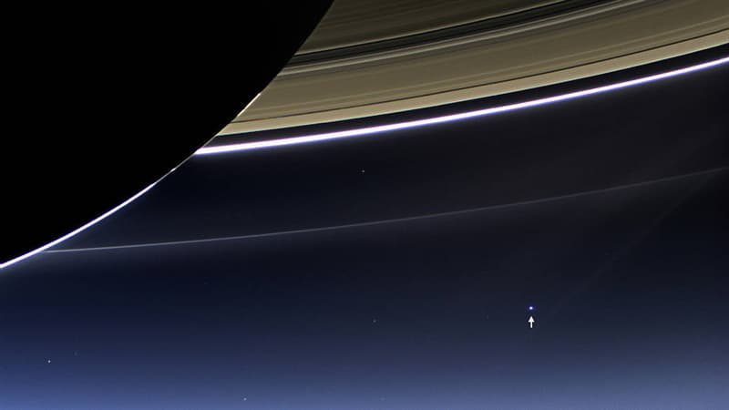 Science Story: #2 Earth and Moon from Saturn, captured 900 million miles away from us by the Cassini spacecraft