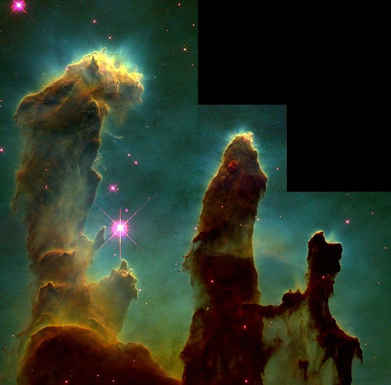 """Science Story: #7 """"Pillars of Creation"""", the photograph of formations of interstellar gas and dust some 6,500-7,000 light years from Earth"""