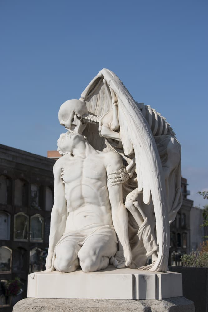 Culture Story: #2 The Kiss of Death is a marble sculpture on the textile manufacturer's grave in Barcelona