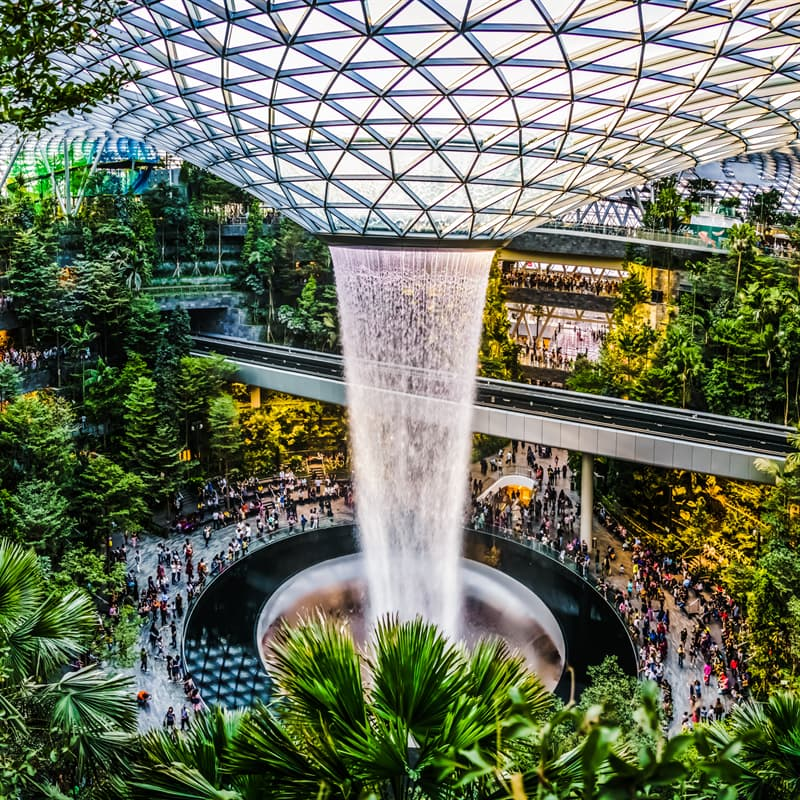 Geography Story: singapore airport waterfall