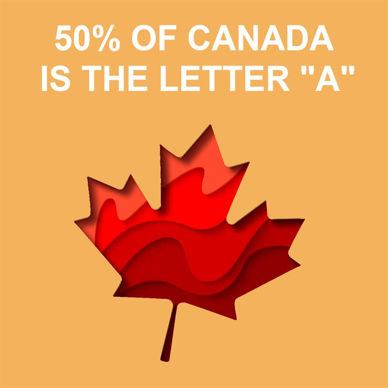 """Society Story: Shower thoughts: 50% of Canada is the letter """"a"""""""