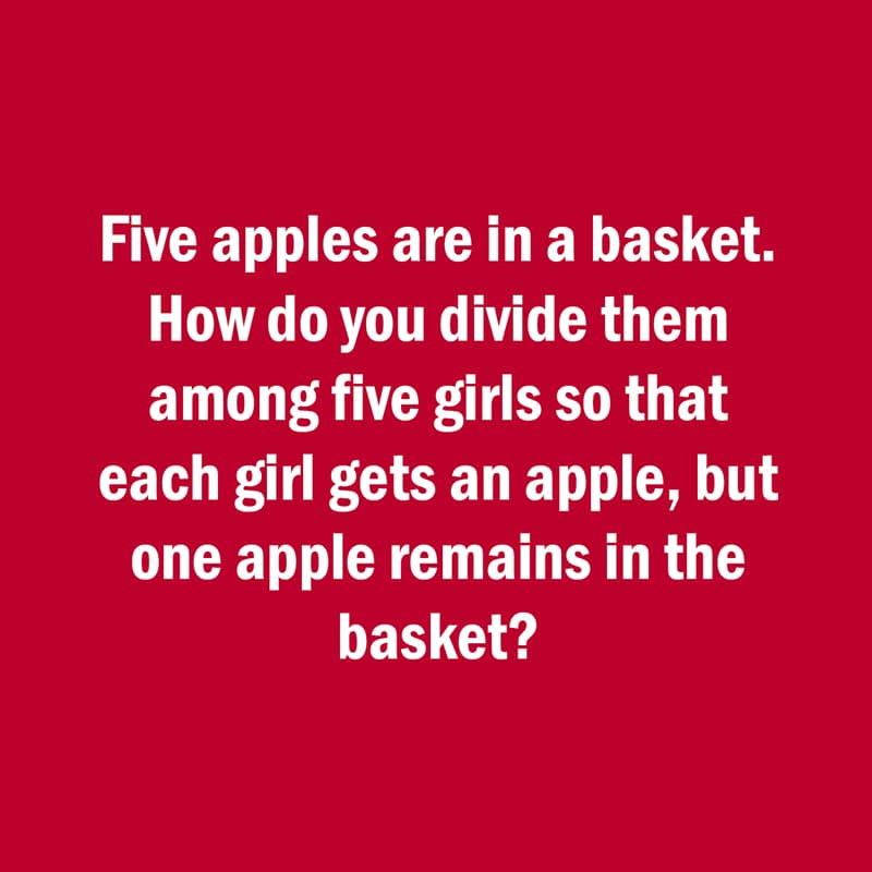 IQ Story: fun riddle five girls and a basket of apples