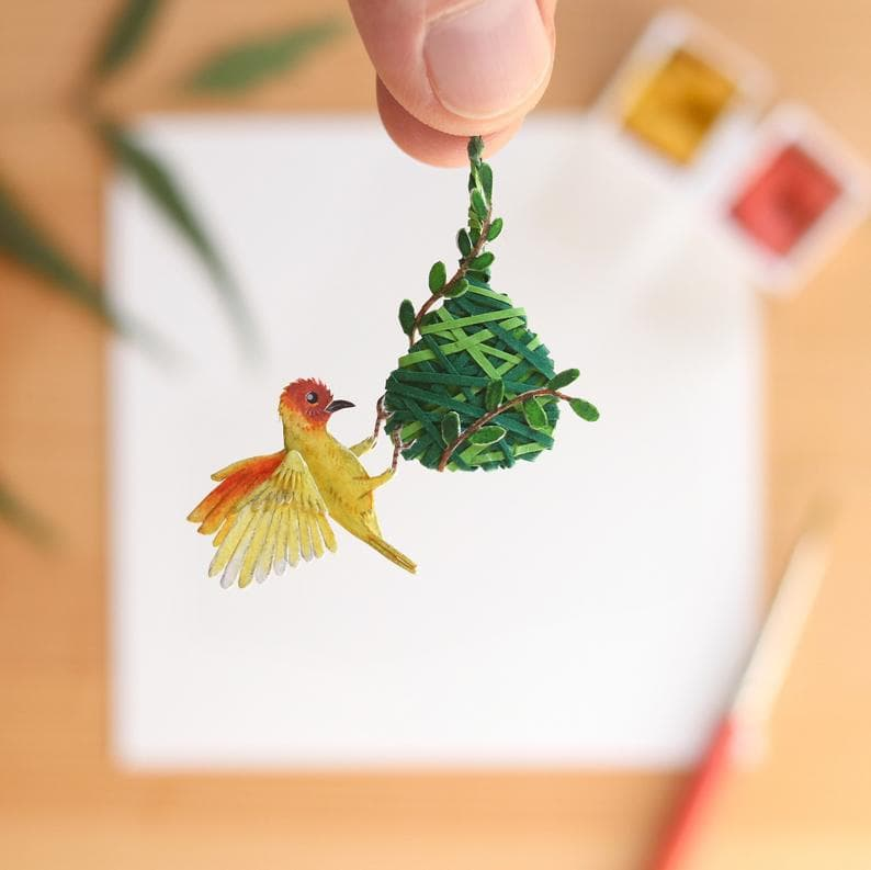 animals Story: Weaver bird paper birds what's your hobby paper crafts