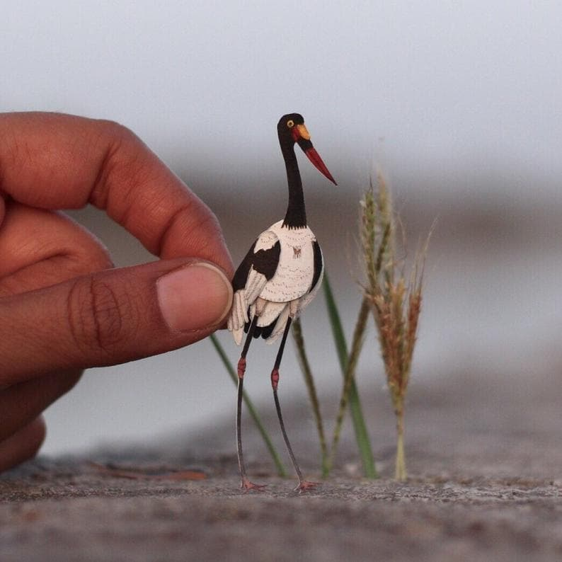 animals Story: Saddle billed Stork paper birds what's your hobby paper crafts