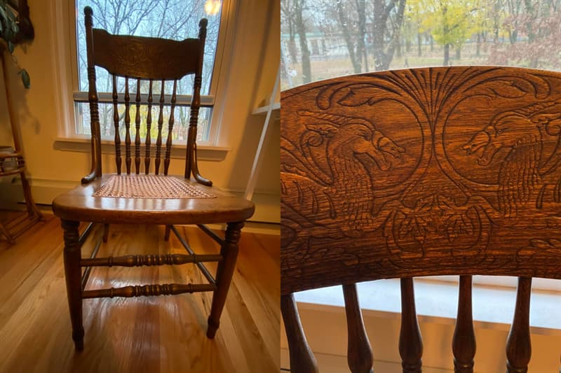 Society Story: #4 Mom bought this pressed back wooden chair back in 1970...