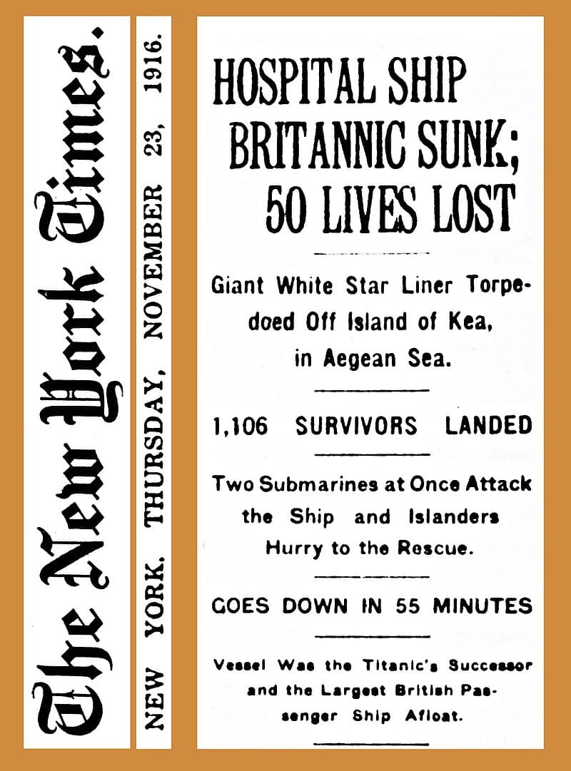History Story: #3 Her skull was fractured while escaping the explosion of the HMHS Britannic
