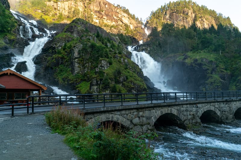 Geography Story: #1 The ancient bridge over the grand Latofesson waterfall in Norway