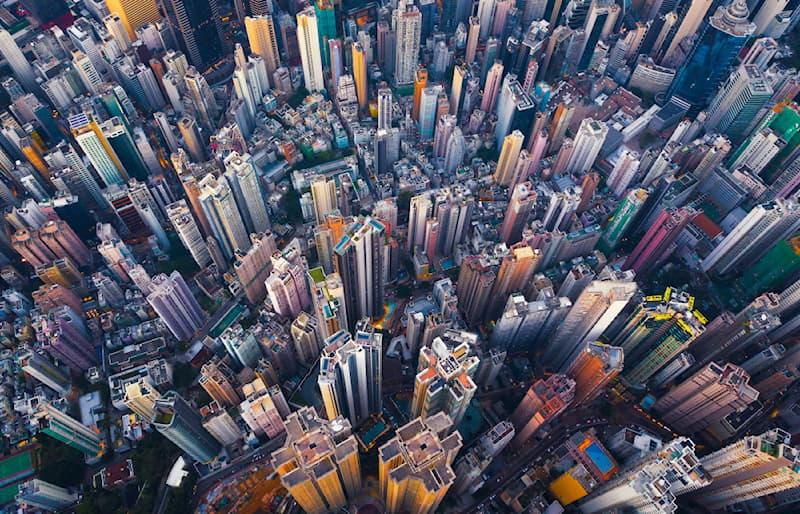 Geography Story: #2 Bird's eye view of Hong Kong business area, Downtown Hong Kong.