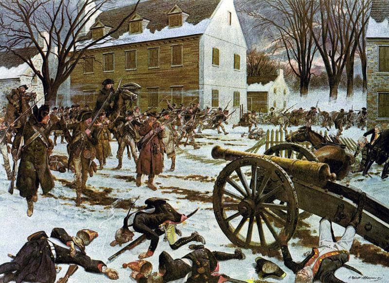 History Trivia Question: What is the name of the city where Washington fought British forces and crossed the Delaware River?