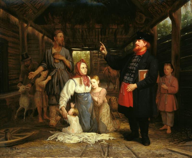 Культура Вопрос: Почему в доме Плюшкина крепостные ходили в сапогах, а вне дома босиком?
