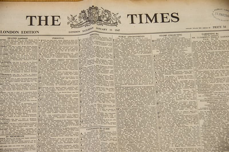 """Culture Trivia Question: When was """"The Times"""" founded?"""