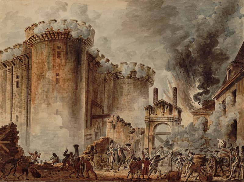 History Trivia Question: How many prisoners were freed as a result of the storming of the prison in Paris known as the Bastille?