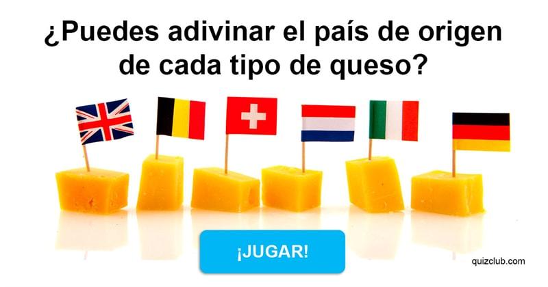 Geografía Quiz Test: ¿Puedes adivinar el país de origen de cada tipo de queso?