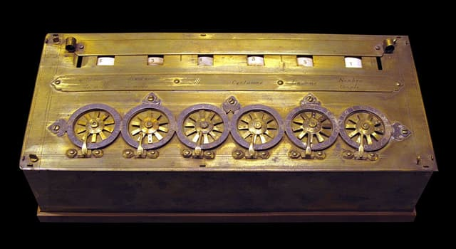 History Trivia Question: Which arithmetic machine was designed in 1642?