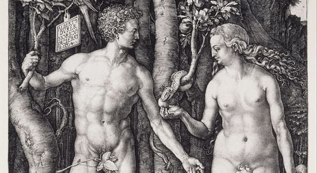 """Culture Trivia Question: Which of the following artists created """"Adam and Eve"""" shown below?"""