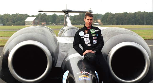 History Trivia Question: In which car did Andy Green first break the sound barrier on land?