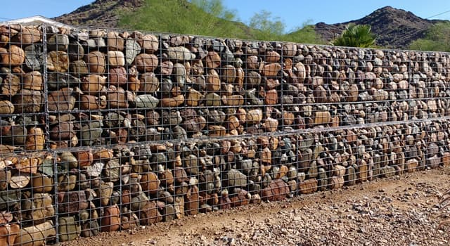 Science Trivia Question: What name is given to a cage or box filled with rocks or concrete for use in civil engineering?