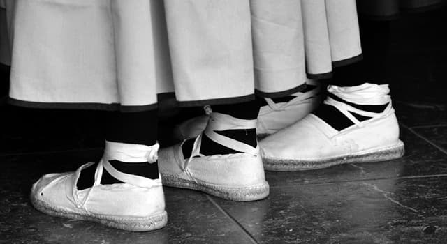 Society Trivia Question: Which of these is a light canvas shoe with a plaited fibre sole?