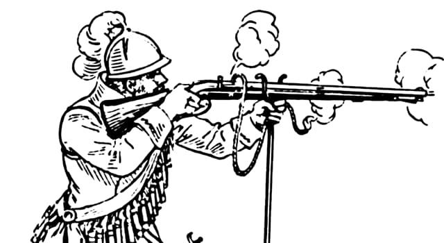 Geschichte Wissensfrage: Wann wurde der Arquebus erfunden, ein großes, schweres und primitives Gewehr?
