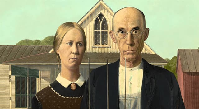 """Culture Trivia Question: Who did artist Grant Wood use as the model for the farmer in his painting """"American Gothic""""?"""