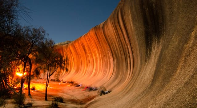 Geography Trivia Question: Where is this large sandstone rock formation located?