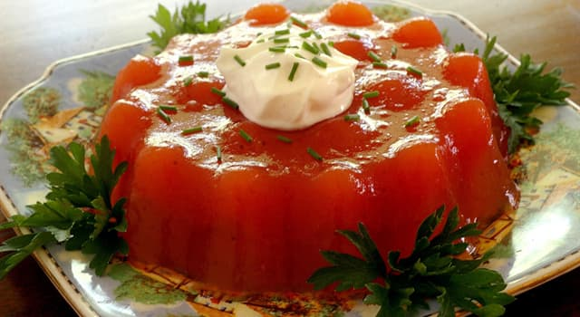 Culture Trivia Question: Which culinary dish calls for ingredients to be set into a gelatin made from meat stock or consommé?