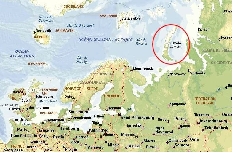 Geography Trivia Question: The Novaya Zemlya archipelago is composed of how many islands?