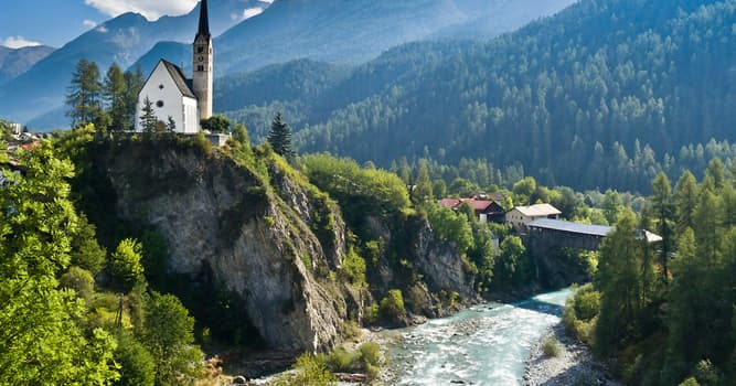 Geography Trivia Question: Which of these rivers' source is located in the Swiss Alps?