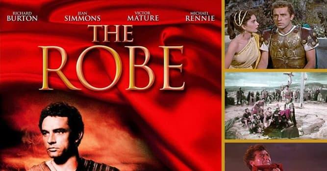 """Películas Pregunta Trivia: ¿En qué estudios se filmó la primer película en Cinemascope""""The Robe"""" (El manto sagrado 1953)?"""