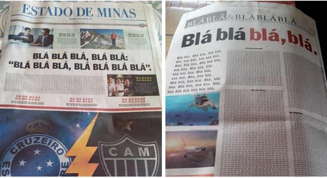"""Deporte Pregunta Trivia: Un diario brasileño sustituyó las noticias de tapa con """"bla bla bla"""", ¿excepto una relacionada a qué deporte?"""