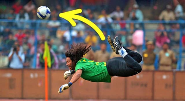 Sport Trivia Question: What is a football move called when the goalkeeper (or field player) kicks a ball with his heels in a jump?