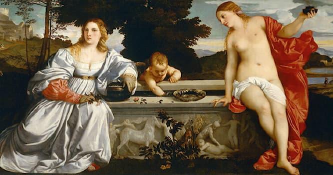 """Культура Вопрос: Какая богиня изображена на картине Тициана """"Любовь небесная и Любовь земная""""?"""