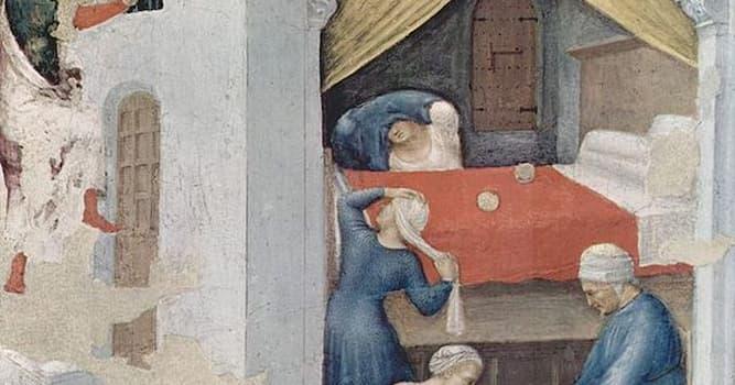 История Вопрос: Святой Николай, спасая трех девушек от проституции, бросил мешочек с золотом в их дом. Во что он попал мешком?