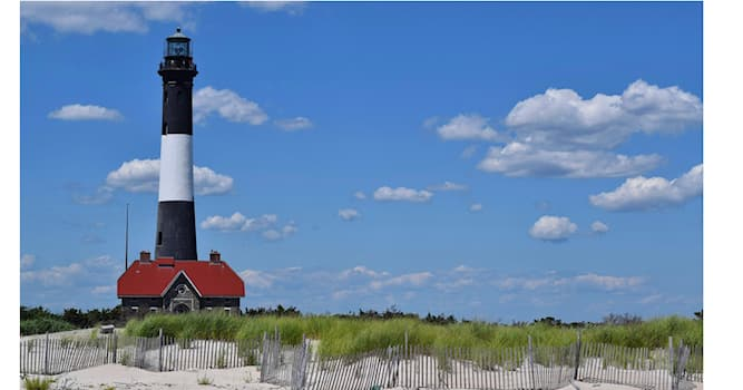 Geography Trivia Question: In which U.S. state can one find this distinctive black and white striped lighthouse?