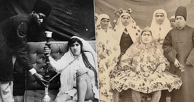 Культура Вопрос: Какую одежду, по легенде, ввёл в гареме иранский шах Насер эд-Дин Шах после визита в Санкт-Петербург в 19 в.?