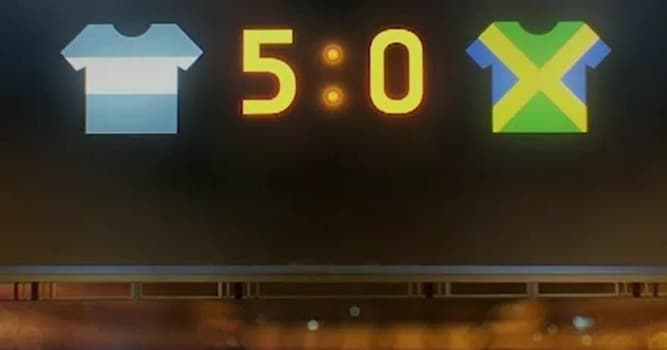 Спорт Вопрос: Когда состоялся матч между Аргентиной и Ямайкой, окончившийся со счётом 5:0?