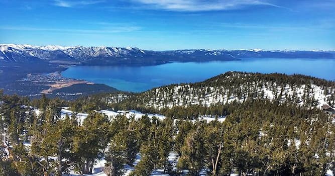 Geography Trivia Question: In which two U.S. states are the shores of Lake Tahoe?
