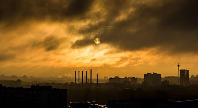 Природа Вопрос: Как называется атмосферное явление, представляющее собой смесь тумана, дыма и продуктов горения?