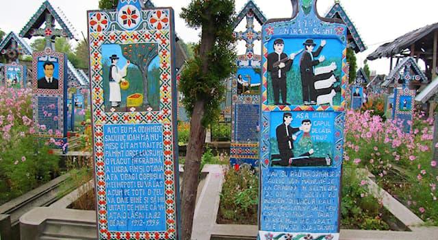 Культура Вопрос: Как называется кладбище в Румынии, известное своими яркими разноцветными надгробиями?