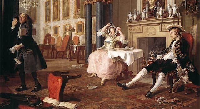 Культура Вопрос: Какой цикл картин Уильяма Хогарта стал первым в Англии, высмеивающим нравы высшего общества?
