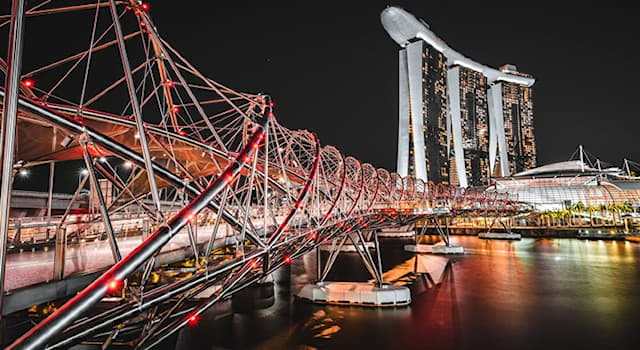 Geography Trivia Question: Where is the Helix Bridge located?